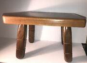 Vtg Wood Wooden Footstool Ottoman Milking Stool Plant Stand Bench Mortise Legs