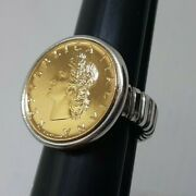 Genuine Italian Lira Coin Ring Yellow Gold Sterling Silver Made In Italy Size 10