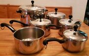 11 Vintage Farberware Cookware Set Lids Collectible Aluminum Clad Stainless