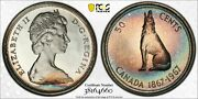 1967 Canada 50 Cents Silver Pcgs Pl66 Rainbow Color Unc Stunning Toned