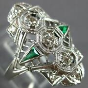 Wide Art Deco .36ct Old Mine Diamond And Aaa Emerald 14k White Gold 3d Ring 27348