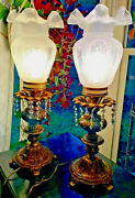 1 Vtg L And L Wmc Victorian Brass Table Lamps Hand Blown Bubble Glass Shades