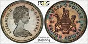 1971 Canada British Columbia Silver 1 Dollar Pcgs Sp66 Color Toned Graded Coin