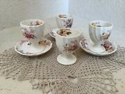 Lot Of 4 Copeland Spode Fairy Dell Egg Cups And 3 Saucers