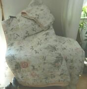 Set Of 2 Laura Ashley Twin Quilts And Shams Linley Pink Shabby Chic Roses Cottag