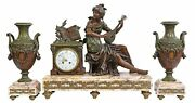 Gorgeous Antique Clock Mantle And Garnitures French Figural Patinated1800and039s