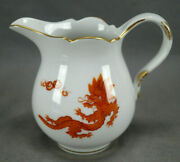 Meissen Hand Painted Red And Gold Ming Dragon Small 3 3/4 Inch Creamer