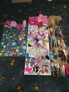 Large Lot Of Barbie Mattel Dolls Clothes And Accessories Car Furniture Bathtub