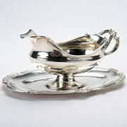 Antique French Sterling Silver Sauce Boat Flatter Tray Flamant Champenois C.1890