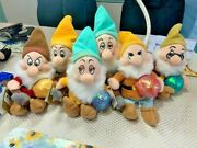 Rare Complete Set Seven Dwarves 8 Disney Plush New With Tags