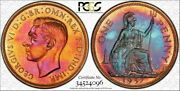 1937 Great Britain One Penny Pcgs Pr64rb Color Toned Coin In High Grade Proof