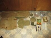 1960's Vintage Boy Scout Backpack Duffle Bag Pans Canteen Silverware Book And More