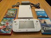 Nintendo Wii U 8gb White System W/ Console Gamepad Cables And 4 Games
