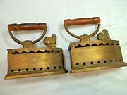 Vtg Set Of 2 Charcoal Bronze Sad Irons, Wooden Handles ,10 Lbs, Total Weight
