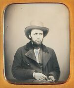 Rugged Bearded Man With Hat Holding Knife Weapon 1/6 Plate Daguerreotype H299
