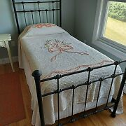Twin Cotton Chenille Bedspread Peach Bow Floral Lightweight Vintage 93x102