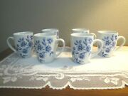 6 Paula Deen / Blue And White / Floral Spring Prelude / Coffee / Tea Mugs