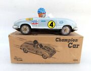Vintage Old Rare Friction Power Stp 4 Mobil Oil Racing Car Litho Tin Toy Japan
