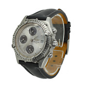 Breitling Chronomat 39mm Chronograph Silver Black Leather Band Mens Watch A13048