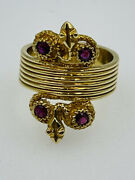 Antique 18k Yellow Gold Egyptian Revival Double Snake Ruby Ring Size 8