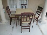 Vintage Wood Leather Top Card Table With 4 Folding Chairs Leg-o-matic Lorraine