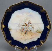 Limoges Guerin Georgian Watteau Scene Cobalt And 12 1/4 Inch Gold Charger Plate