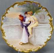 Limoges Hand Painted Signed Dubois Greek Women And City 13 1/2 Inch Charger C1890s
