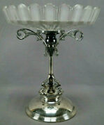 Eapg Bakewell Pears Frosted Ribbon Manhattan Silverplate Dolphin Compote C. 1877