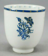 18th Cent Chinese Export Qianlong Hand Painted Cobalt Gold Floral Coffee Cup