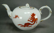 Meissen Hand Painted Red And Gold Ming Dragon Large Size Teapot