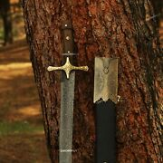 Damascus Sword Damascus Steel Real Damascus / With Scabbard And In Wooden Box