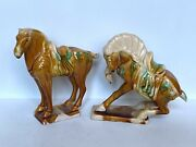 Chinese Sancai Horse Figurines Pair   Two Chinese Ceramic Horses Egg And Spinach