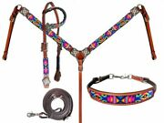 Showman Bright Color Beaded Tribal Design Leather Headstall And Breast Collar Set