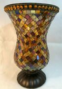 Partylite Global Fusion Hurricane Mosaic Tiles Glass Candle Holder 12 P8366
