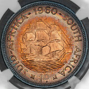 1960 South Africa 1 Penny Ngc Ms65rb Rainbow Color Toned Unc