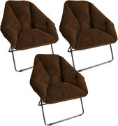 Zenithen Hexagon Folding Portable Dish Chair For Dorm Room Brown Pack Of 3