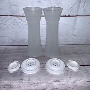 New Tupperware Salt And Pepper Shakers Hourglass Set 6 Tall Large White 718