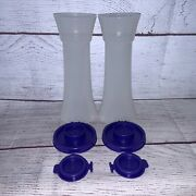 New Tupperware Salt And Pepper Shakers Hourglass Set 6 Tall Large Purple 718