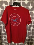 Hollister Menand039s T-shirt Size Xl Red Short Sleeve