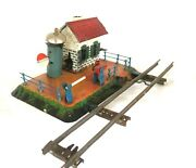 Ac1722vintage Carette O/1 Gauge Railway Crossing With Train Warden House And Bell