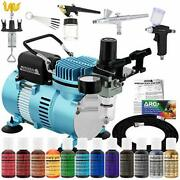 Dual Fan Air Compressor Pro Cake Decorating System Kit With 3 Airbrushes