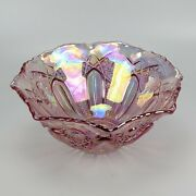 Le Smith Pink Carnival Glass Bowl - Iridescent Vintage Cut Valtec