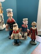 Lot Of 4 Vintage Popeye And Olive Oyl Cast Iron Banks