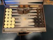 Rare Vintage Aries Hecho En Mexico Leather Professional Tournament Backgammon