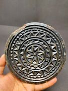 Vintage Stone Cookie Mold Hand Carved Floral Work Tribal Design Rolling Plate