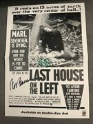 Wes Craven Sean Cunningham Signed Last House On The Left Poster