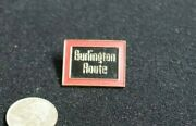 Vintage Brass And Enameled Burlington Route Rr Screw Back Hat Lapel Pin Red And Blac