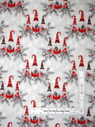 Christmas Gnome Trio Gry Cotton Fabric Hanging With Gnomies 3 Wishes By The Yard