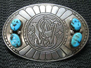 Sterling Silver Smith And Wesson Turquoise Belt Buckle Vintage David Yellowhorse