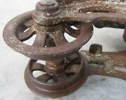 Antique Farm Barn Primitive F E Myers And Bros Ok Unloader Hay Trolley Pulley